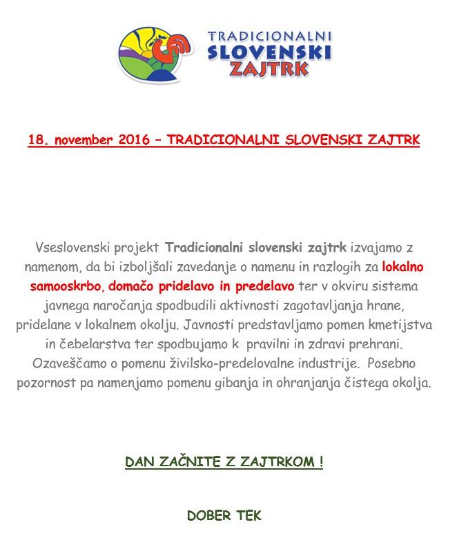 18. november 2016 – tradicionalni slovenski zajtrk