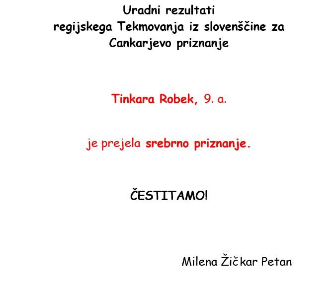 Rezultati tekmovanja iz slovenščine