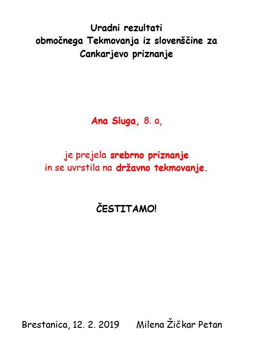 Rezultati območnega tekmovanja iz slovenščine