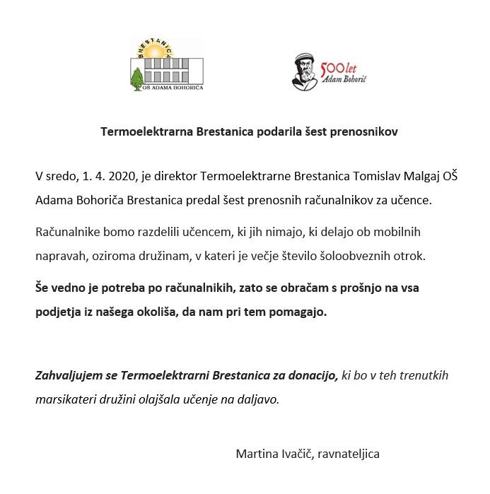 Termoelektrarna Brestanica podarila šest prenosnikov