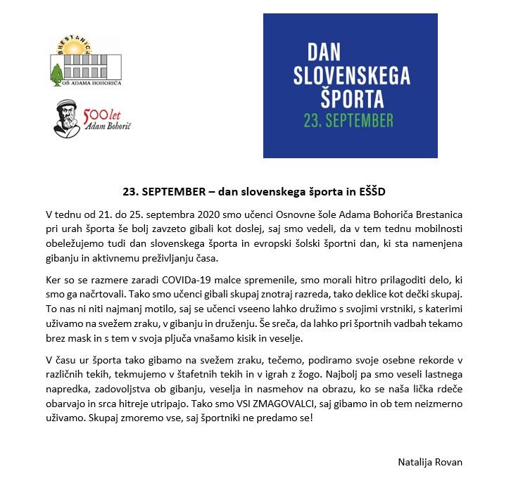 23. SEPTEMBER – dan slovenskega športa in EŠŠD