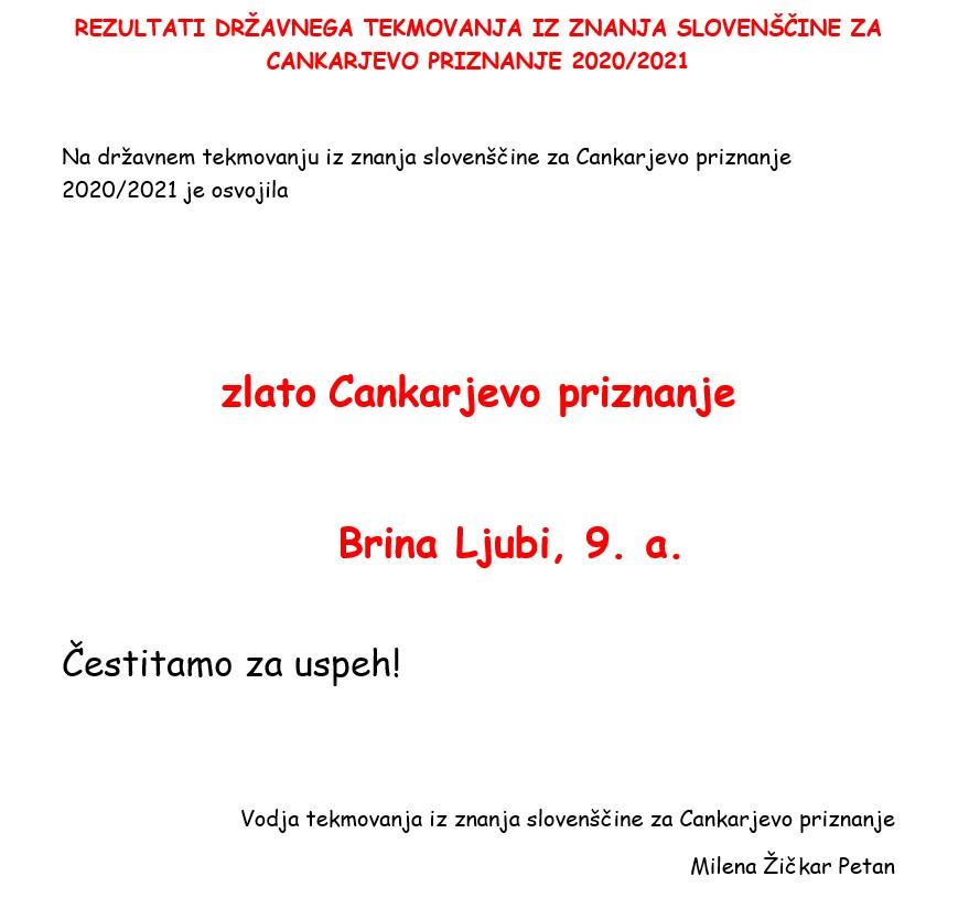 Rezultati tekmovanja iz znanja slovenščine